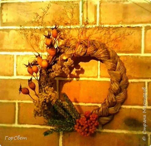 """Интерьерные """"рождественские"""" веночки из сухоцветов и травы. фото 1"""