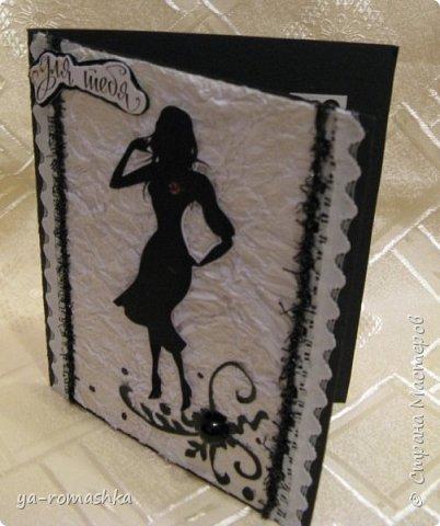 Доброго времени суток, дорогие жители страны! Хочу показать вам мои открытки из серии женские образы, фон для двух из них я сделала из бумаги тишью, которую я предварительно мяла и аккуратно расправляла... Основа открытки - плотный картон. Картинка - распечатка на принтере.  фото 2