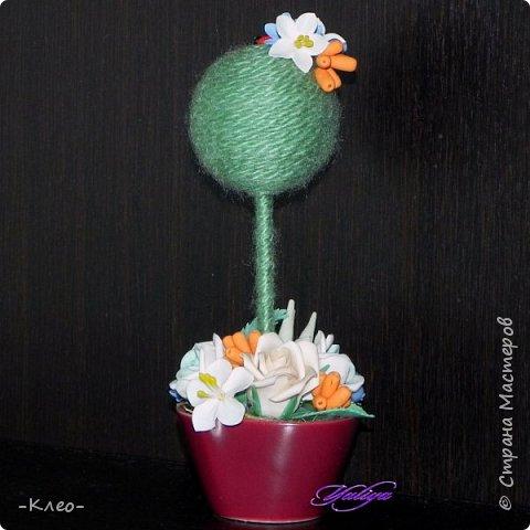 Топиарий кофейный. Цветочки из самоварного холодного фарфора. фото 6