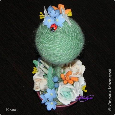 Топиарий кофейный. Цветочки из самоварного холодного фарфора. фото 8