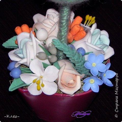 Топиарий кофейный. Цветочки из самоварного холодного фарфора. фото 10