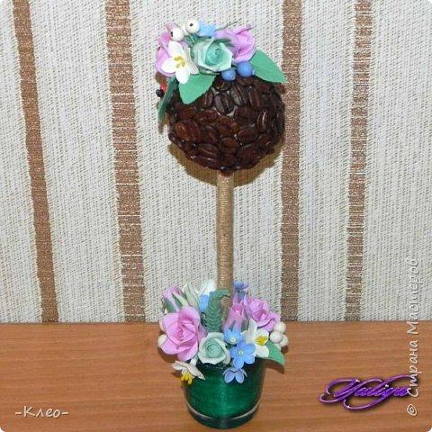 Топиарий кофейный. Цветочки из самоварного холодного фарфора. фото 1