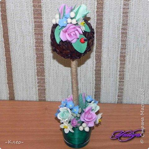 Топиарий кофейный. Цветочки из самоварного холодного фарфора. фото 2
