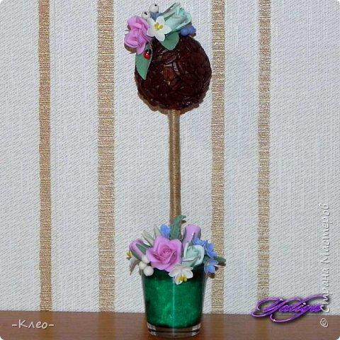 Топиарий кофейный. Цветочки из самоварного холодного фарфора. фото 3