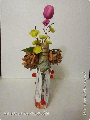 Сделала подруге на юбилей бутылочку, имениннице вроде понравилась!  фото 2