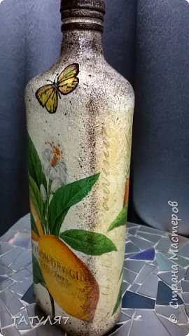 Горлышко , бока и низ бутылки зашпаклеван перед декупажем. фото 15