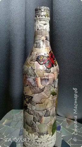 Горлышко , бока и низ бутылки зашпаклеван перед декупажем. фото 19