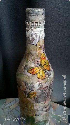 Горлышко , бока и низ бутылки зашпаклеван перед декупажем. фото 21