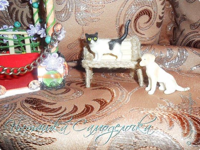 Всем привет.Вот такая сказочная беседка получилась,а еще есть скамейка и кошка с собакой.Приятного просмотра! фото 7