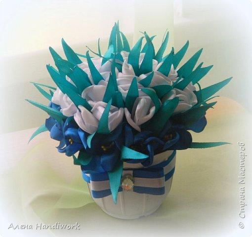 Горшочек канзаши из тюльпанов и крокусов