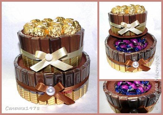 """Декор напитка .  В составе конфеты : """"Трюфели"""" и """"Марсианка Ассорти"""" ,флористический материал.  фото 2"""