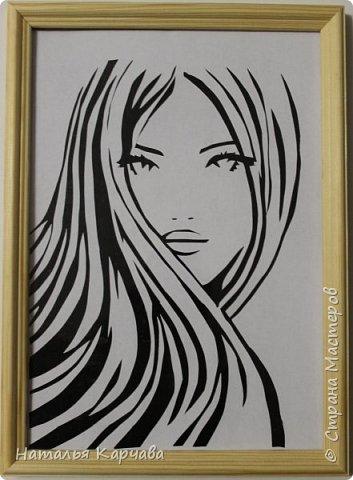 Добрый день, Страна мастеров! Сыночек на прошлой неделе увлёкся новым видом искусства Вытынанки, здесь можете посмотреть его работы http://stranamasterov.ru/node/1006542 , вот и я решила попробовать свои силы.  Девушка с распущенными волосами. фото 1