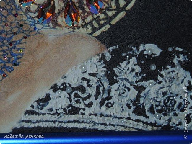 Добрый вечер мастера и мастерицы СМ.Прошу ознакомится  с моей новой работой.Картина размером 40/50 выполнена на текстурной бумаге,лентами с добавлением страз. фото 4