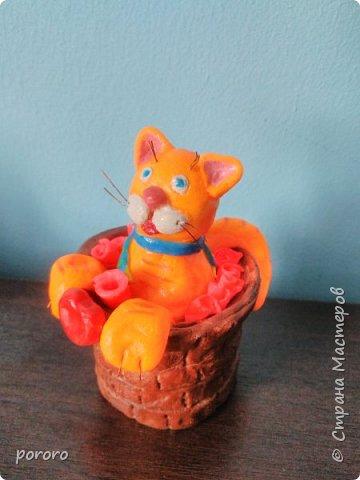 Котейка в карзинке с цветами и сердечком фото 1
