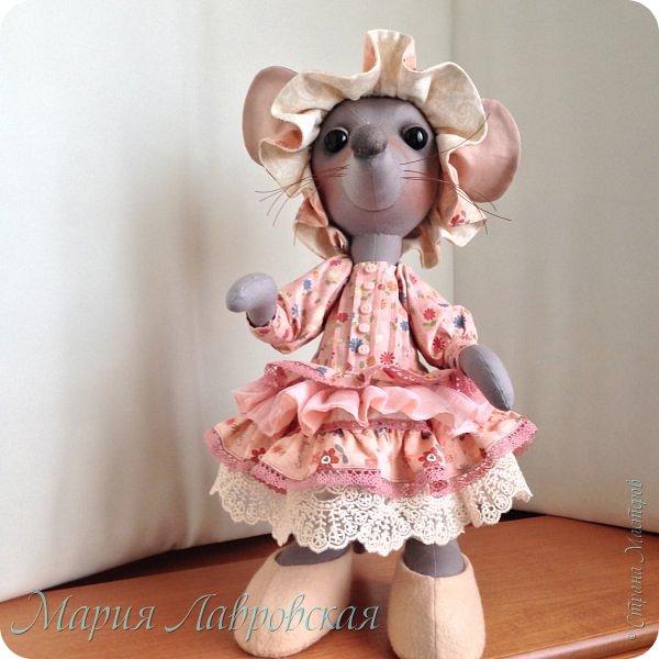Прошу знакомиться -Мышуля!!!   Мышка была сшита на заказ в подарок для маленькой девочки. Поэтому и цветовая гамма нежно-розовая. Ростом она совсем не маленькая - 45см. И получилась она довольно тяжёлой, так как в ножки насыпала гранулят, что бы она  могла стоять без опоры. Это моя вторая мышка, первую можно посмотреть здесь -    http://stranamasterov.ru/node/492977   фото 2