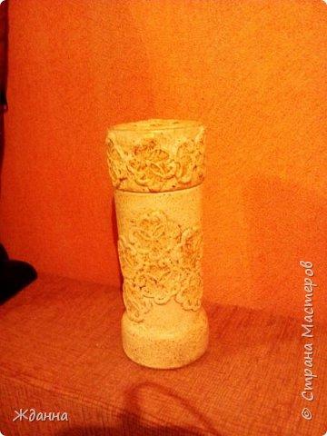 Здравствуйте, жители Страны! Попробовала новую для меня технику Каменные кружева. МК здесь http://stranamasterov.ru/node/945675?c=favorite  Коробочка, банка из-под кофе и высокий стеклянный бокал. фото 3