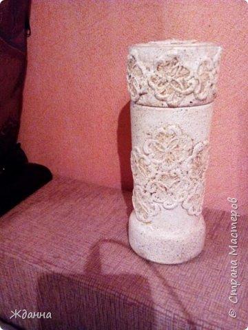 Здравствуйте, жители Страны! Попробовала новую для меня технику Каменные кружева. МК здесь http://stranamasterov.ru/node/945675?c=favorite  Коробочка, банка из-под кофе и высокий стеклянный бокал. фото 5