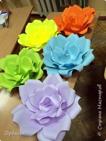 Нашла на просторах интернета замечательную идею по украшательству свадебных залов, и подумала - почему бы и ДА?  Итак, в преддверии весны и 8 марта украшаем класс бумажными цветочками. фото 25