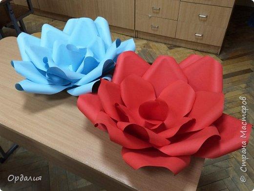 Нашла на просторах интернета замечательную идею по украшательству свадебных залов, и подумала - почему бы и ДА?  Итак, в преддверии весны и 8 марта украшаем класс бумажными цветочками. фото 15