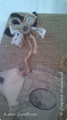 Вот такой наборчик сделала себе на работу. Использовала разные баночки, картон, а для декора ткань, кружево, мешковину, шпагат и кожу. фото 3