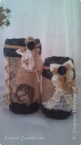 Вот такой наборчик сделала себе на работу. Использовала разные баночки, картон, а для декора ткань, кружево, мешковину, шпагат и кожу. фото 15