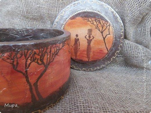 """Доброго времени суток! Очередные шкатулки, все из картона. Это имитация фрески """"Мама Африка"""" фото 1"""