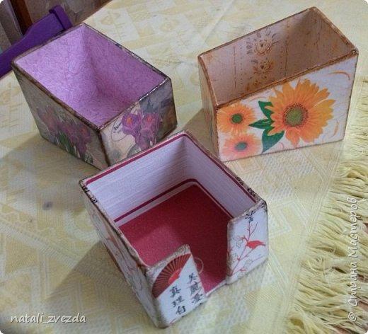 Очередные подарочки. Короба для специй и салфетница. Выполнена из картона. Декупаж. Внутри и донышко оклеино обоями (бросовый материал). фото 1