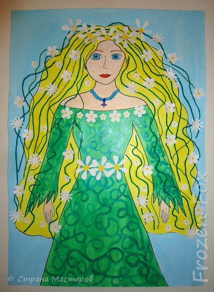 На формате А3 нарисована Весна, шерстяными нитками зелёного цвета обозначены прядки волос. А белые цветочки - для украшения. Те, что на фигуре - клеила я. А в волосы вклеивали девочки с моей группы.