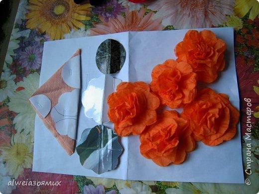 цветы из  салфеток фото 6