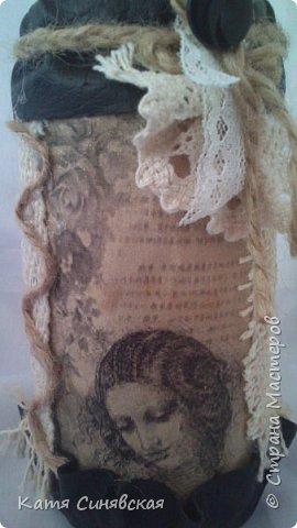 Вот такой наборчик сделала себе на работу. Использовала разные баночки, картон, а для декора ткань, кружево, мешковину, шпагат и кожу. фото 23