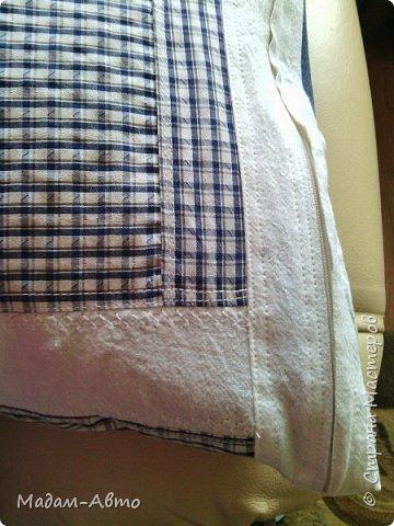 """Так как сын не любит заправлять постель, я нашла выход-сшила хитрую наволочку на подушку.У нее две функции-и декоративная,и как постельное белье. Это """"лицевая"""" сторона. фото 4"""