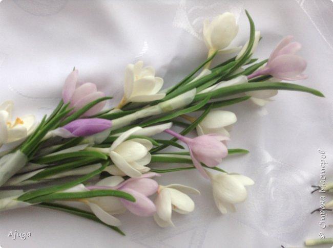 Крокусы к первому дню весны!!Холодный фарфор. Ручная работа. фото 8