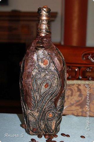 Бутылочка. Техника пейп-арт (жгутики скрученые из салфеток). фото 2