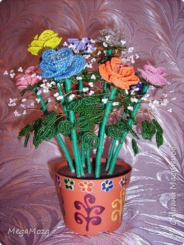 Эти цветочки я плела года 4 назад на Новый Год в подарок крёстной. Идея была мамина, плела же только я))) Видела эти цветочки на просторах СМ, тока я их не правильно собрала, потому что все лепестки расползлись, увы. Но всё равно получилось симпатично! Сильно не ругайте, просто до этого я ещё никогда цветы не плела *покраснел* фото 2