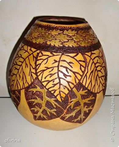 Доброе время суток всем.Это последняя ваза наверное, осталось три маленькие лагенарии и я ещё не знаю , что из них придумать. фото 1