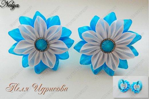 Добрый день!!! Сегодня мы будем делать вот такие нежные бело-голубые резиночки. Нам понадобиться: - лента 2,5х5,5см - серединка - резинка