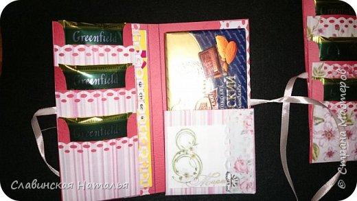 На 8 марта воспитателям в подарок внутри потайной кармашек для сертификата по 2пакетика чая в каждом кармашке и шоколад фото 5