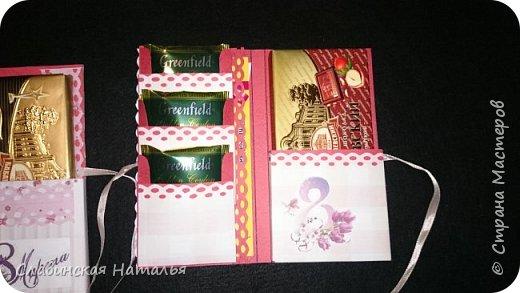 На 8 марта воспитателям в подарок внутри потайной кармашек для сертификата по 2пакетика чая в каждом кармашке и шоколад фото 7