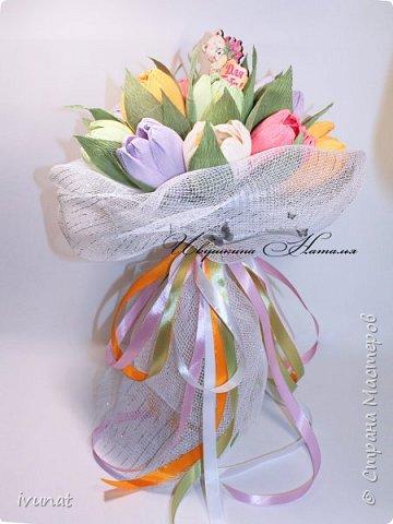 """Изготовила вот такой букет. Первый раз """"леплю"""" тюльпаны... ))) фото 3"""
