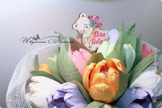 """Изготовила вот такой букет. Первый раз """"леплю"""" тюльпаны... ))) фото 4"""