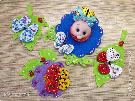 """Продолжила мастерить подарки на тему """"букашки""""))) Сшила маленьких бабочек,которыми можно украсить и кукол,и цветы и сделать магниты. Пришлось немного помаяться с этими малявками))) Вот такое букашечное семейство получилось. Большие бабочки с маленькими . фото 13"""