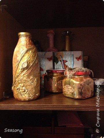 Новые баночки бутылочки (декупаж-винтаж_декопатч) и шкатулочка (папье-маше) фото 1