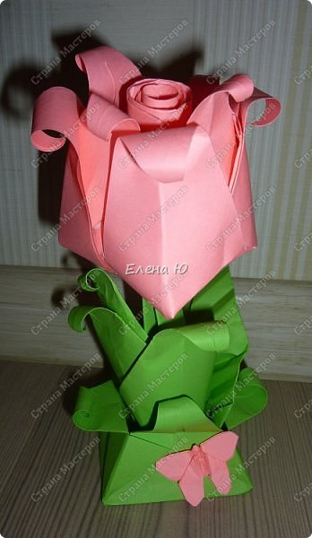 Такие бутоны роз на подставочке (или в вазоне)   мы сделали с ребятами мамам на 8 Марта:  фото 25
