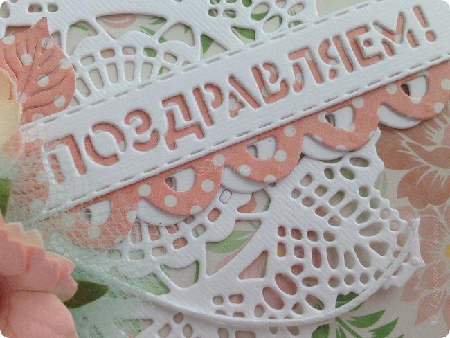 """Показываю несколько открыток. Вообще их было больше, но по соглашению не могу их выставить в сеть. Бумага от производителя galeria papieru и """"горохи"""" от СкрапМир , на мой взгляд, подружились в этой открытке. Ромашки покрасила  водорастворимым спреем Color Bloom от Prima Marketing. Лифтинг открытки мастерицы wioletta-jc фото 3"""