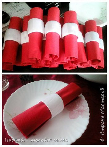 Кольца для салфеток. Сделала я их из картонных тубусов от туалетной бумаги и атласных лент)))