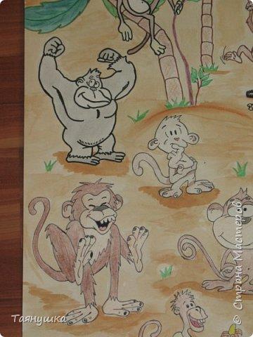 В этом году 23 февраля мы нашим скромным женским коллективом решили поздравить коллег мужского пола стенгазетой. Поскольку год у нас обезьяны было принято решение изобразить остров, населенный обезьянками разных цветов, форм и размеров. фото 3