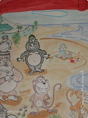 В этом году 23 февраля мы нашим скромным женским коллективом решили поздравить коллег мужского пола стенгазетой. Поскольку год у нас обезьяны было принято решение изобразить остров, населенный обезьянками разных цветов, форм и размеров. фото 7