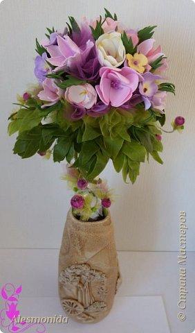 Всем добрый вечер! Наконец-то завершила свой букет цветов! Я продолжаю знакомиться с таким прекрасным материалом, как фоамиран...он меня покорил, ВСЁ!!!.... хочется делать и делать....и вот наделала такой букетик цветов))) фото 1