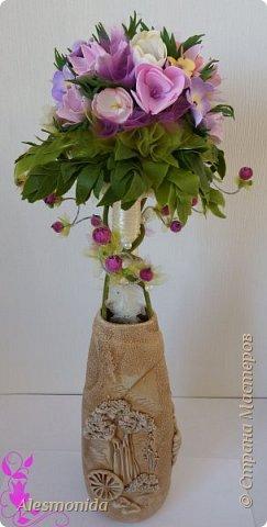 Всем добрый вечер! Наконец-то завершила свой букет цветов! Я продолжаю знакомиться с таким прекрасным материалом, как фоамиран...он меня покорил, ВСЁ!!!.... хочется делать и делать....и вот наделала такой букетик цветов))) фото 6
