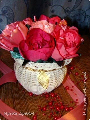 Вазочка с цветами из лент фото 2